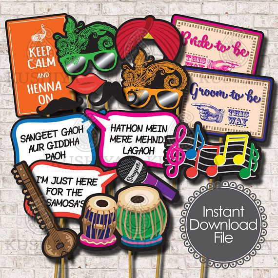 Sangeet / Mehndi Night Photo Props – Set of 16 – Indian Wedding, Party Signs, Desi, Instant Download, Printable, Print your own, DIY