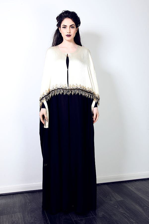 Cream and Black Abaya with gold embellishment