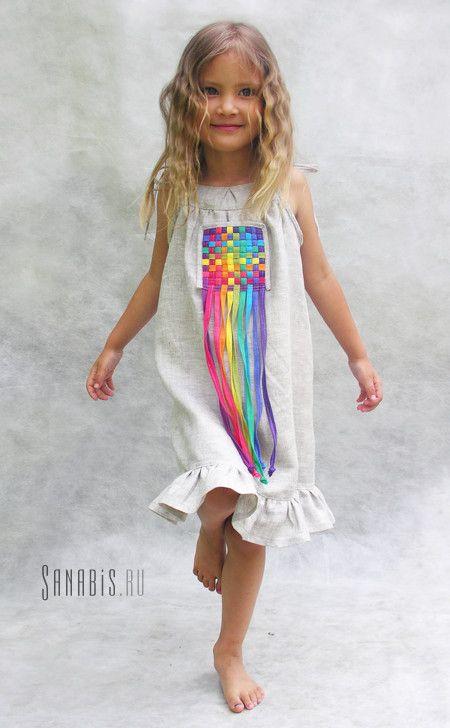Сарафан из льна для девочки с радужными полосками ~ Sanabis.ru