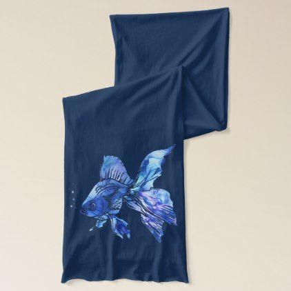 Blue Goldfish Pet Aquarium or pond Fish blue waves Scarf - accessories accessory gift idea stylish unique custom