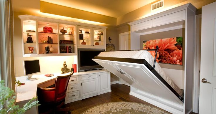 I love the idea of the wall/murphy bed in a small space.  Wall Beds/Murphy Beds with Built-In Custom Cabinets