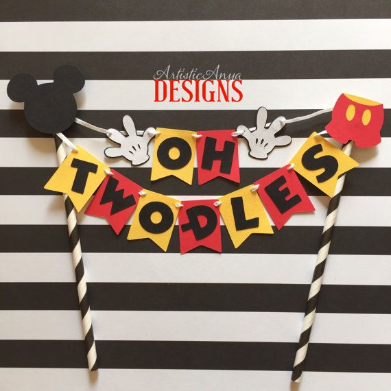 Mickey Mouse Birthday Age Cake Bunting - Oh Two-dles Cake Topper by ArtisticAnyaDesigns
