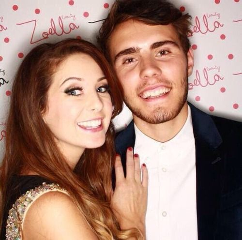 OH MY GOSH. ZALFIE. Zoe Sugg and Alfie Deyes at the Zoella Beauty launch.