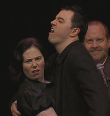 Haha, I find these two so amusing. Alex Borstein and Seth MacFarlane (Also photo bomb by Mike Henry.)