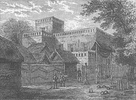 1874 Former palace of Asantehene being burned and ransacked by the British after the Third Anglo-Ashanti War