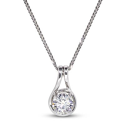"SAGE Prod Code: P0242  ""Sage"" Pendant Halo with double loop bail  6.0mm Round Brilliant Moissanite, 0.78ct   $550.00"