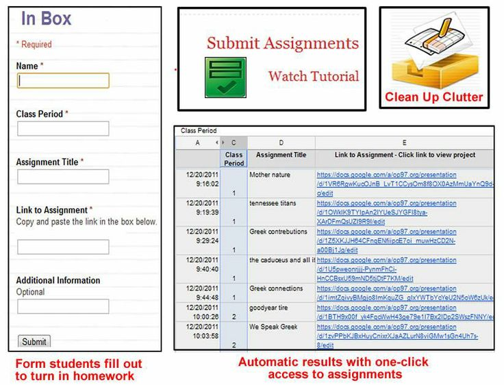Use a google form to create an in box students submit the form to