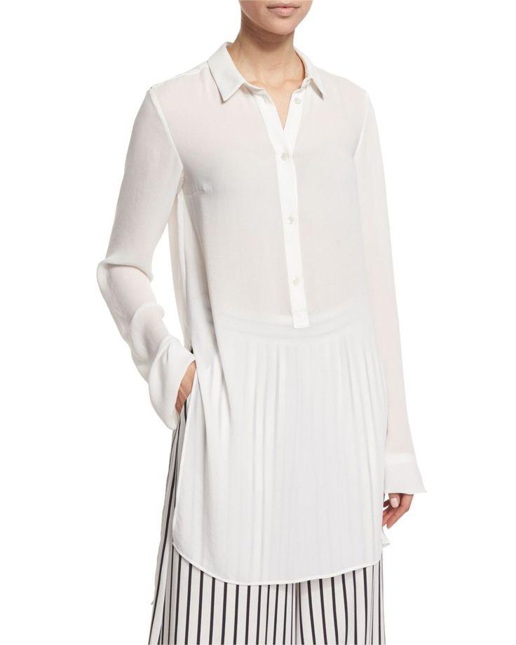 Long-Sleeve Tunic Blouse, Ivory - McQ Alexander McQueen