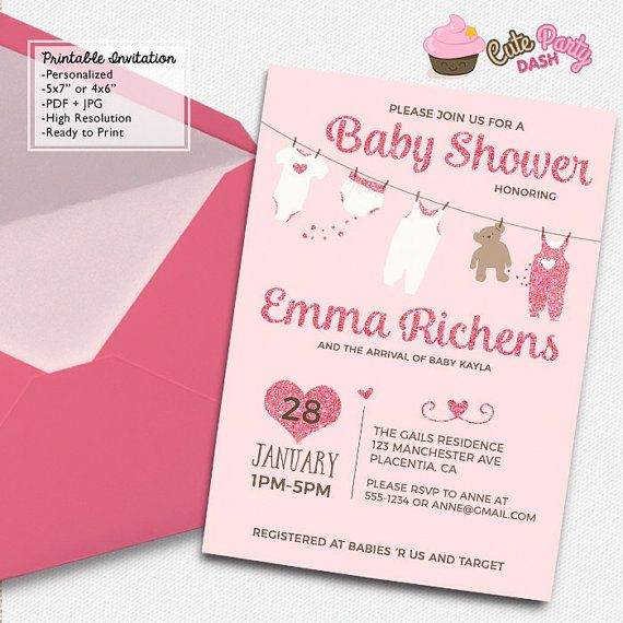 Cute Clothes line pink Baby Shower invitations by CutePartyDash