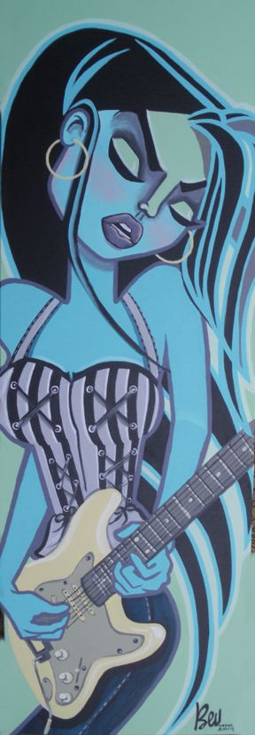 "IN TUNE acrylic on canvas 12"" x 36""  SOLD"