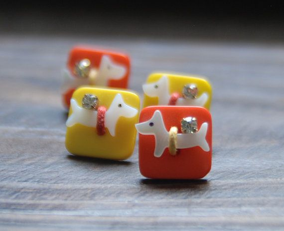 Cute Puppy shell earring. Square beads earring. by bijouroom, $15.00