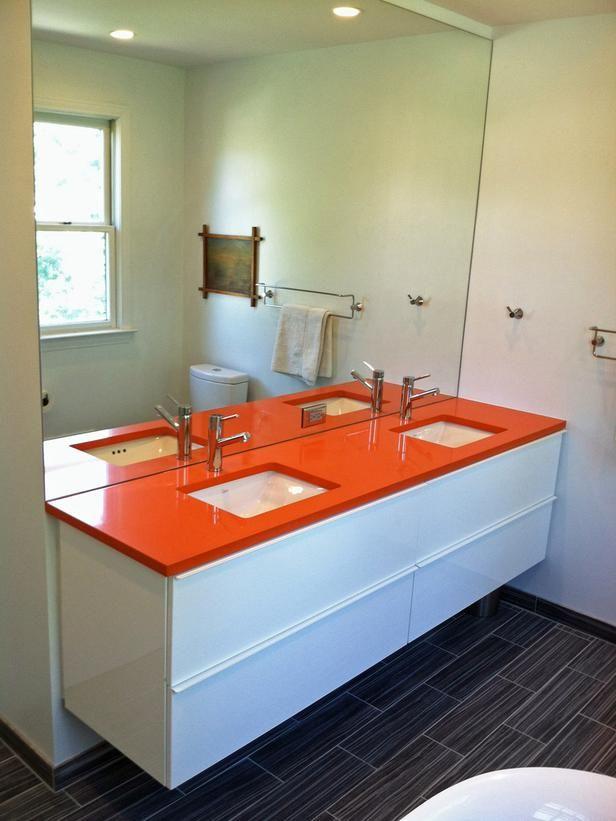 Orange White Bathroom Makeover