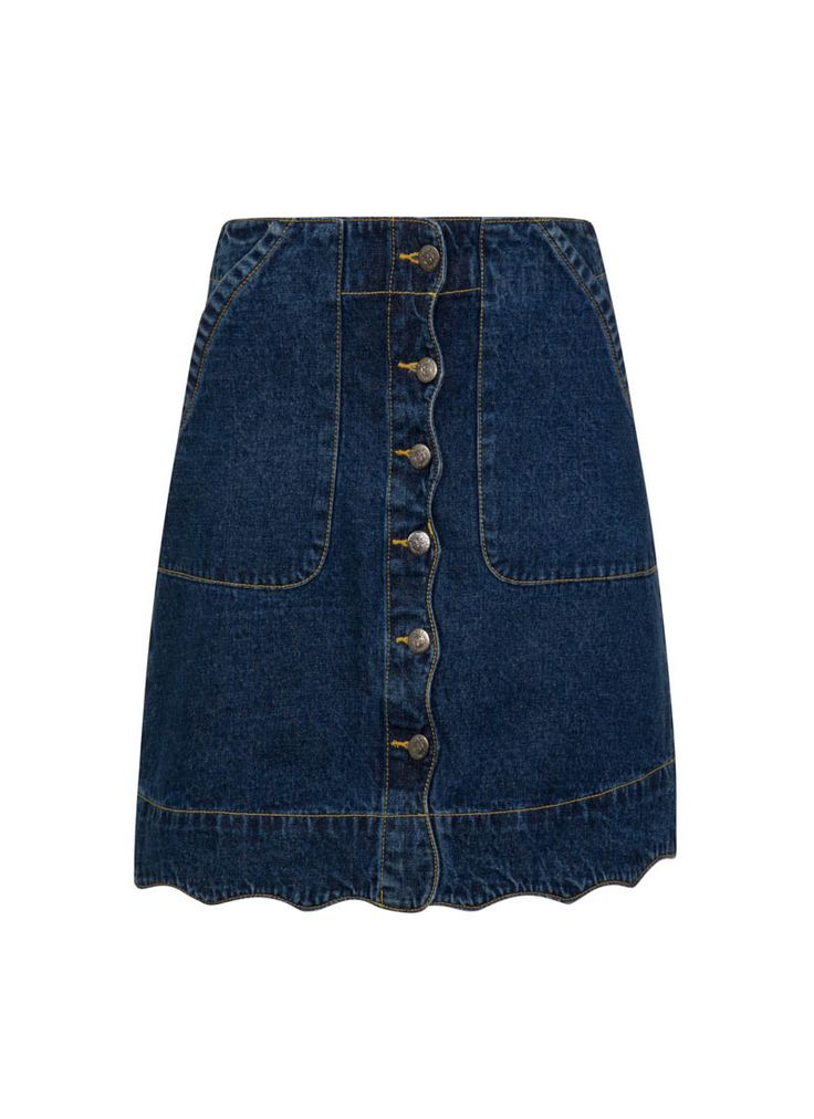 The Sarah A-line Denim Skirt is a classic 60s style mini length, featuring a scallop edge hem and button-through front detail.