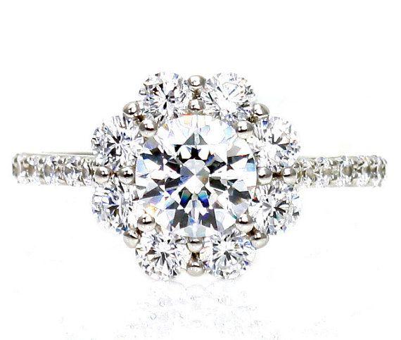 14K Moissanite Engagement Ring Cluster Flower Diamond Halo Moissanite Ring Conflict Free Diamond Alternative Custom Bridal Jewelry