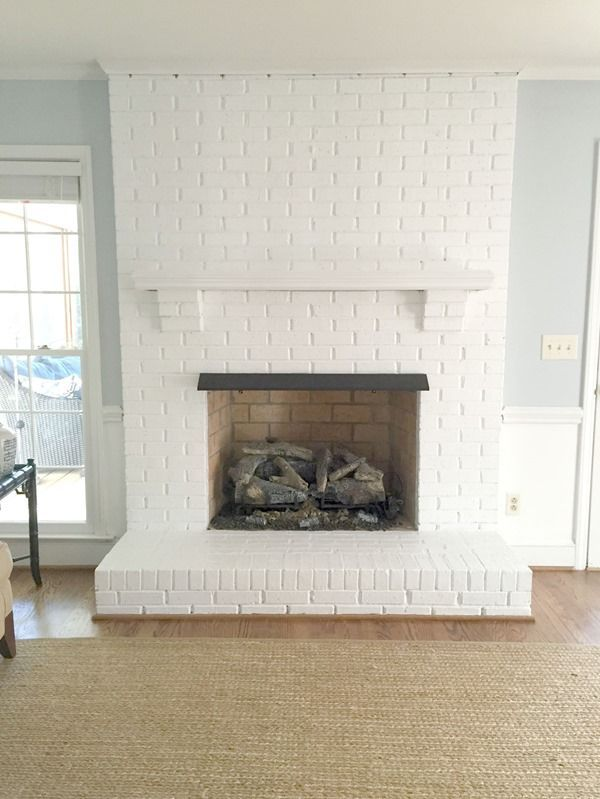 Painting Our Brick Fireplace White Whitebrickfireplace Paint Color On Wall Is Palace Pearl By B White Brick Fireplace Painted Brick Fireplaces Brick Fireplace