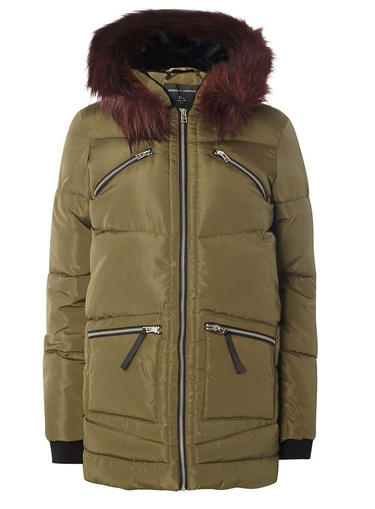 Brave the chill and get cosy in this Khaki Zip Faux Fur Padded Jacket - NEED!