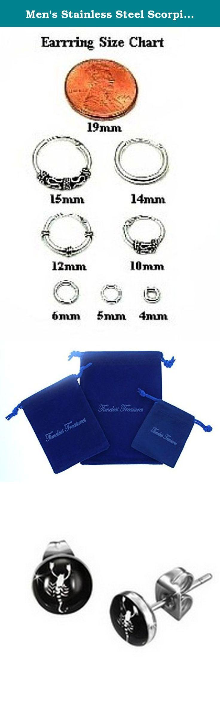 "Men's Stainless Steel Scorpio Zodiac Sign Stud Earrings - 7mm Diameter (.27""). Stainless Steel Scorpio Zodiac Sign Stud Earrings - 7mm Diameter (.27"")."