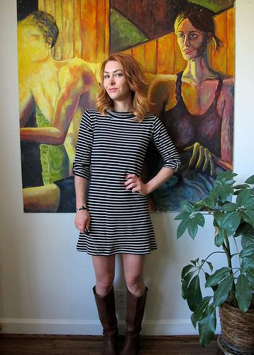 Lauren's striped Coco Dress with added cuff tabs - sewing pattern by Tilly and the Buttons