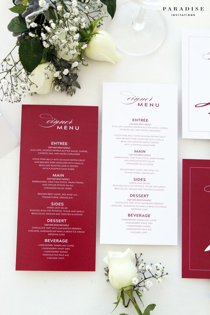 Ria Deep Red and White Menus, Wedding Menus, Elegant and Chic Menu