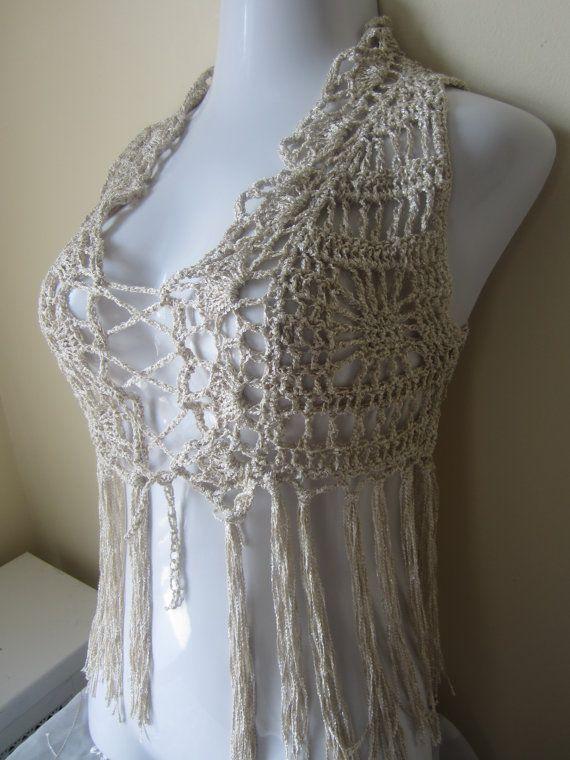 fringed crochet clothing | Crochet Fringe Vest, cropped, LINEN GOLD, Festival vest, boho, indie ...