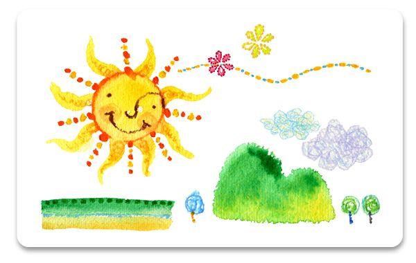 イラスト:太陽、空、山、木々
