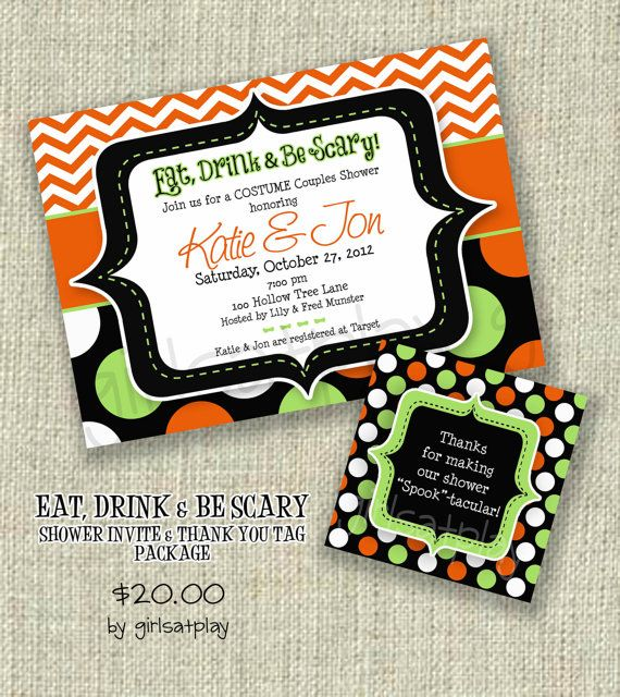 Halloween Bridal Shower Invitation Invite Scary by girlsatplay, $20.00
