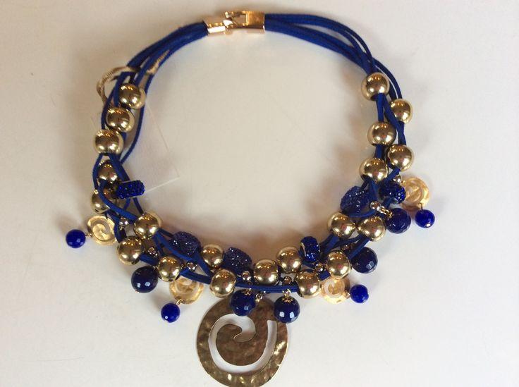collier etrusco spirale col.blu oltremare