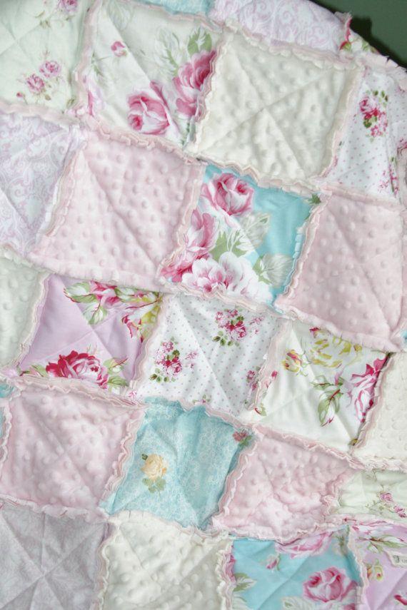 Baby Girl Rag Quilt, Shabby Chic Rag Quilt, Pink Blue Nursery