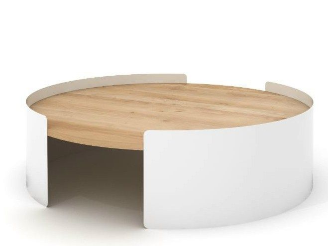 tavolino rotondo in metallo e rovere moon table by universo positivo design lara u0026 jan moon tableoak coffee table