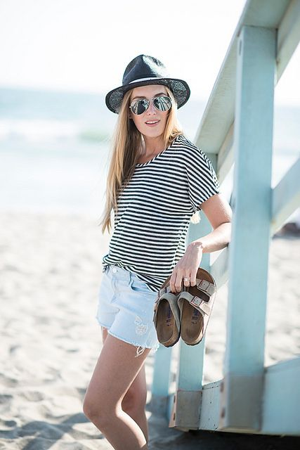 cutoffs + stripes for the beach @J BRAND #INMYJBRAND