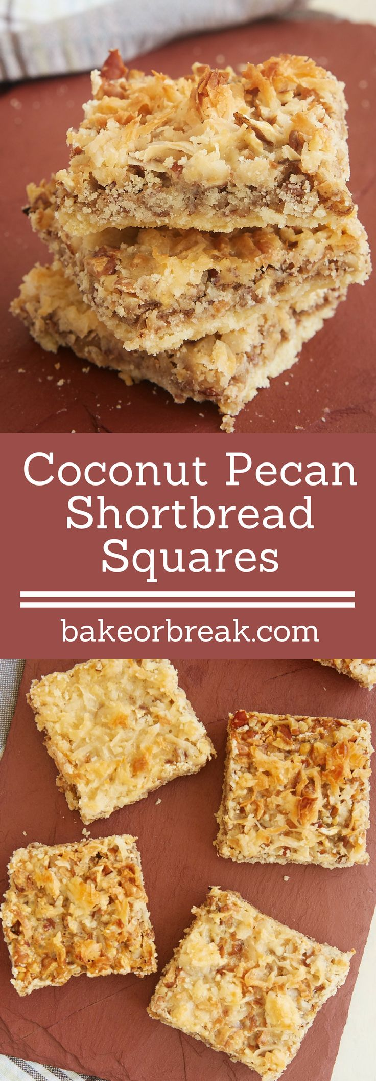 You only need 5 ingredients to make these sweet, nutty, chewy, gooey, delicious Coconut Pecan Shortbread Squares. - Bake or Break ~ http://www.bakeorbreak.com