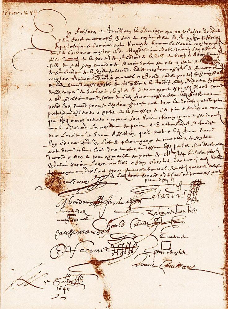 Mariage notarié de Guillaume Couture et Anne Émard en 1649.