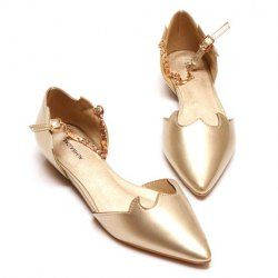 Wedding Women's Flat Shoes With Chain and Pointed Toe Design