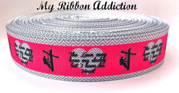Lineman Linemen Power Lineman Daddy Ribbon by MyRibbonAddiction
