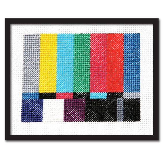 LOVE // Vintage TV Test Screen Easy Cross Stitch Pattern by tinymodernist, $4.00