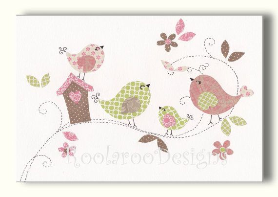 Nursery Art, Bird Wall Art Print, Pink and Green Kids Artwork  Treetop Love - PRINT