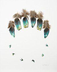Американский художник Крис Мэйнард (Chris Maynard) превращает и без того красивые перья птиц в нежные произведения искусства.