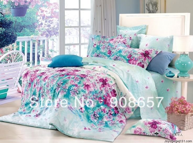 500 thread count purple flower turquoise printed queen/full girl's bedding set cotton bed linens duvet covers comforter covers-in Bedding Sets from Home & Garden on Aliexpress.com