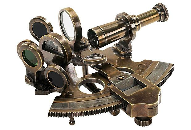 Bronze Pocket Sextant on OneKingsLane.com  Charming pocket sextant as used by Victorian explorers and surveyors. Intricate and semi-functional, it has all the pieces needed to shoot the sun. A sextant defined latitude. A clock longitude. Defining the angle of Sun and Stars with the horizon was an important way to navigate and survey. A beautiful intricate little instrument with an interesting and ancient history.