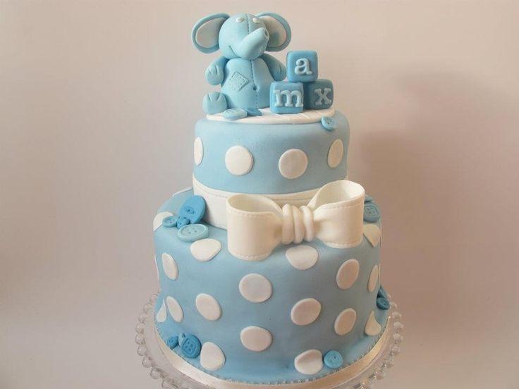 Baby Boy Christening Cake — Baby Shower