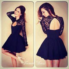 Lovely long-sleeved black lace evening dress, short dresses, graduation dresses from Formal  Dress