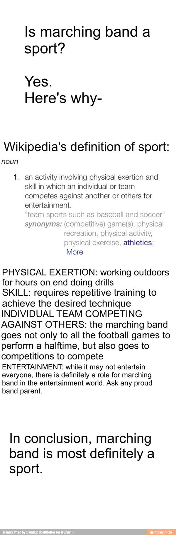 This is for all the people out there in the world who think marching band is not a sport