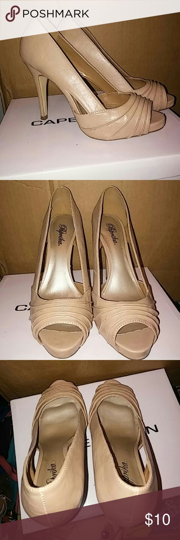 """Beige heels"""" NEW ITEM """" Brand new has cushions for comfort. These are not cheap heels. Shoes Heels"""