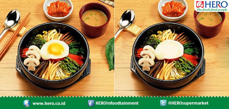 Find 3 differences between these Bibimbap picture!