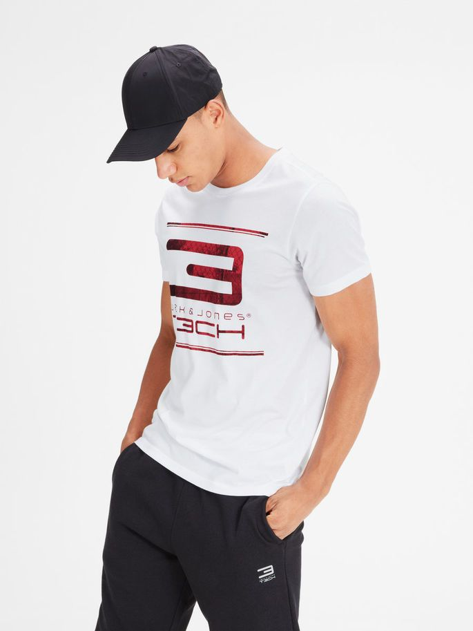Photoprint white tshirt with red print, training tee with quick dry quality. Available in blue and black   JACK & JONES #gym #training #sports #tshirt
