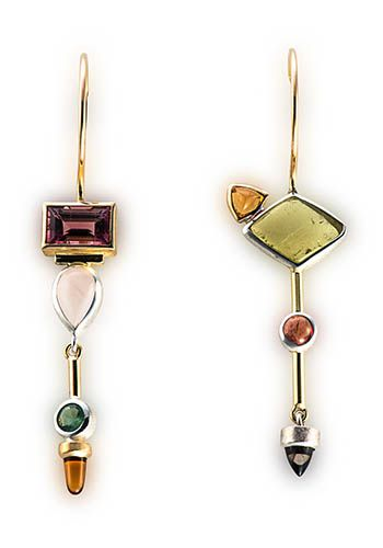 Janis Kerman: Multistone Earrings, Earrings in sterling silver, 18k gold, tourmaline, rose quartz, citrine, beryl, Umba sapphire, and iolite.