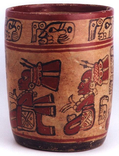 "Mayan Polychrome Cylinder Vessel. El Salvador. Circa 500-900 AD. 6-1/4"" high x 5"" (15.9cm x 12.7cm)."