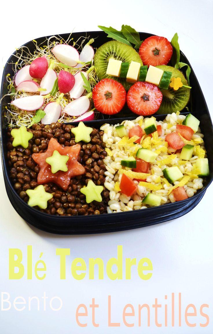 Bento Blé Tendre et Lentilles    http://www.monbentovegetarien.com/2012/05/30/bento-ble-tendre-et-lentilles/