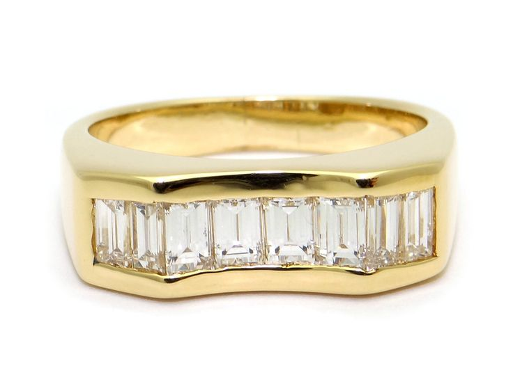 Mens 14k Yellow Gold 64ct Baguette Cut Diamond Channel Set Wedding Band Size 775 By