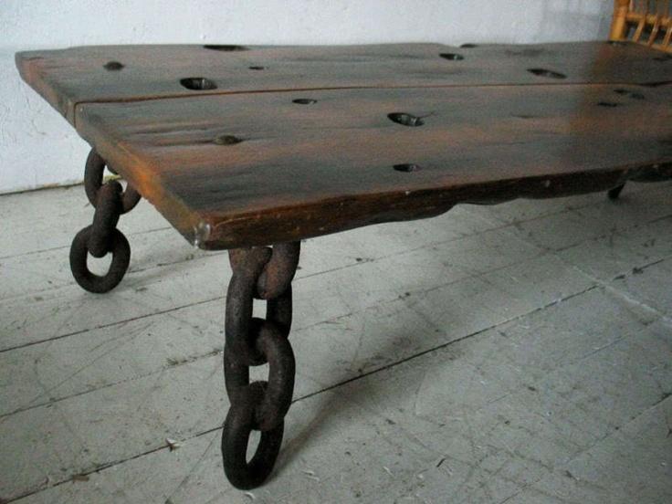 Artisan Shipwreck Exotic Wood Slab Table Bench